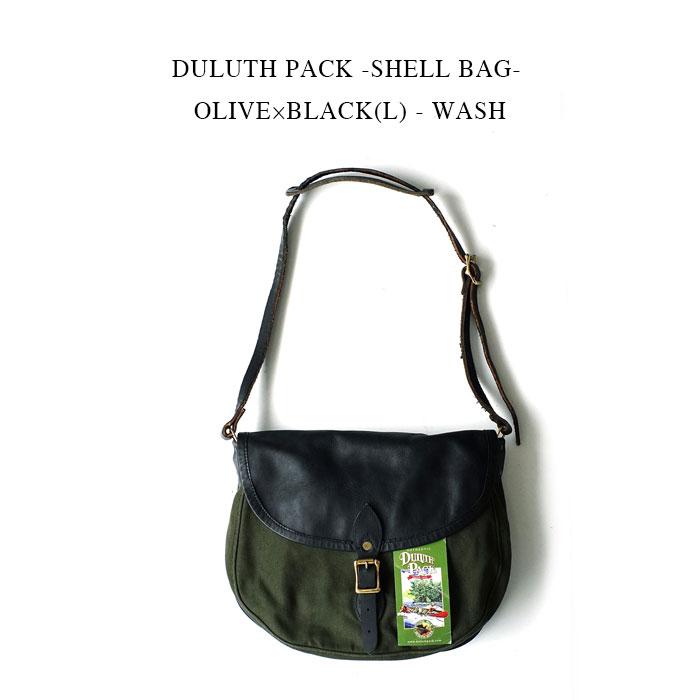 クラシカルなショルダーバッグ DULUTH PACK -SHELL BAG- OLIVE×BLACK ダルースパック《シェル 国内正規 ☆新作入荷☆新品 マーケティング ショルダーバッグ》オリーブグリーン×ブラックレザー - L WASH