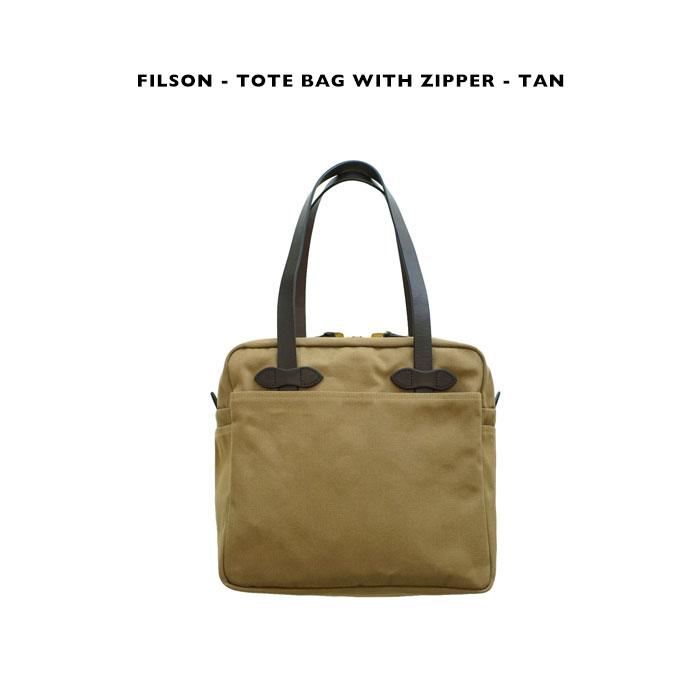 FILSONのシグネチャーTIN CLOTHを用いたトートバッグ FILSON おすすめ - TOTE BAG WITH ZIPPER 《トートバッグウィズジッパー》タン TANフィルソン テレビで話題 ベージュ
