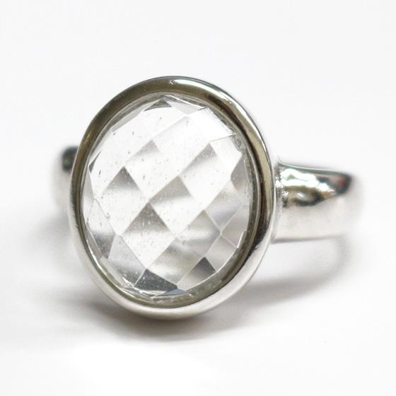 マニカラン産オーバルカットヒマラヤ水晶シルバーリング(天然石 パワーストーン 指輪 リング 楕円) メール便不可