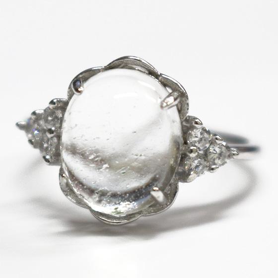 マニカラン産オーバルカボションヒマラヤ水晶シルバーリング(天然石 パワーストーン 指輪 リング) メール便不可