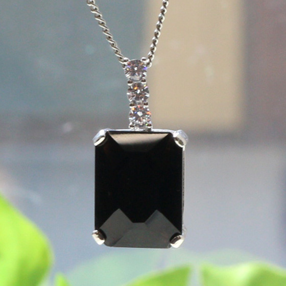 黒水晶長四角シルバーペンダントトップ(天然石 パワーストーン アクセサリー ペンダント ネックレス 長方形)メール便不可