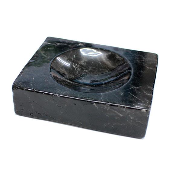 黒水晶台座・浄化皿(天然石 パワーストーン 置物 浄化プレート 丸玉 モリオン) メール便不可