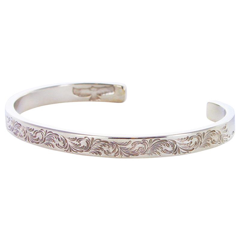 K18WG M arabesque design 5mm bangle