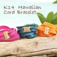 【K14ハワイアンコードブレスレット】ハワイアンジュエリー ハワイアン ブレス puaally 手彫り 14金 ゴールド 重ね着け