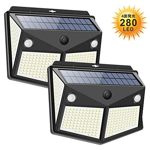 【2020最新昇級版】 センサーライト 280LED ソーラーライト 4面発光 3つ知能モード 太陽光発電 Lifeholder 防水 人感センサー自動点