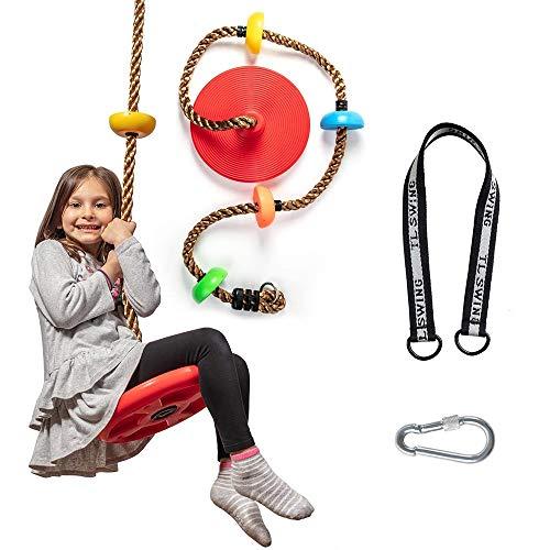 クライミングロープ 新商品!新型 ブランコ スイング リング付き ロックカラビナ ついに入荷 ディスク ロープ はしご おもちゃ 子供クライミング用 耐荷重130k