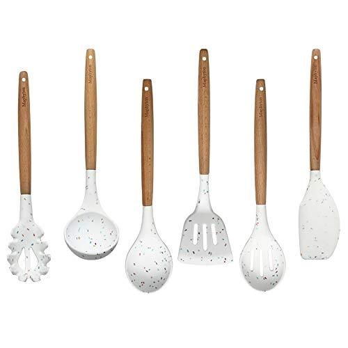 Maphyton メーカー公式ショップ キッチンツール 六点セット シリコン料理調理器具 おしゃれな台所用品 木製ハンドル 可愛い スプーン ス 倉庫 穴あき 白い食器