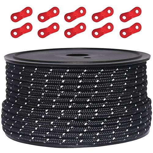 テントロープ パラコード タープロープ ガイロープ 反射 NEW ガイライン 自在金具付き 5mm キャンプ ロープ ボビン巻 アルミ自在金具 50m 市販