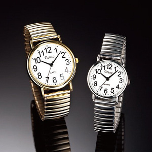 腕時計 のびのびベルト 送料無料 【見やすい大きな文字盤のびのびベルト 腕時計(クォーツ) 】 【送料無料】文字が見やすくベルト調節不要!一目で時間がわかる大きなアラビア文字! mam