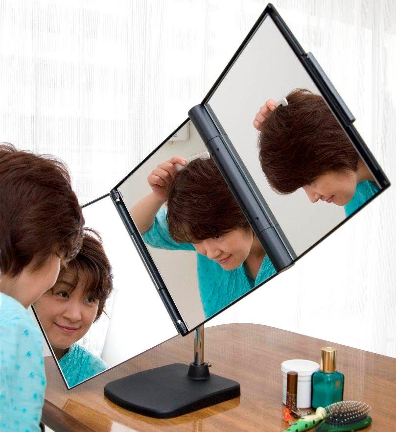 三面鏡 3面鏡 卓上 スタンドミラー 360° 回転 送料無料【NEW スリーウェイ回転ミラー (スタンド付)】【送料無料】360度回転三面鏡!部分カツラ のセット・ヘアピンの装着・ヘアマネキュア・毛染めに! kik