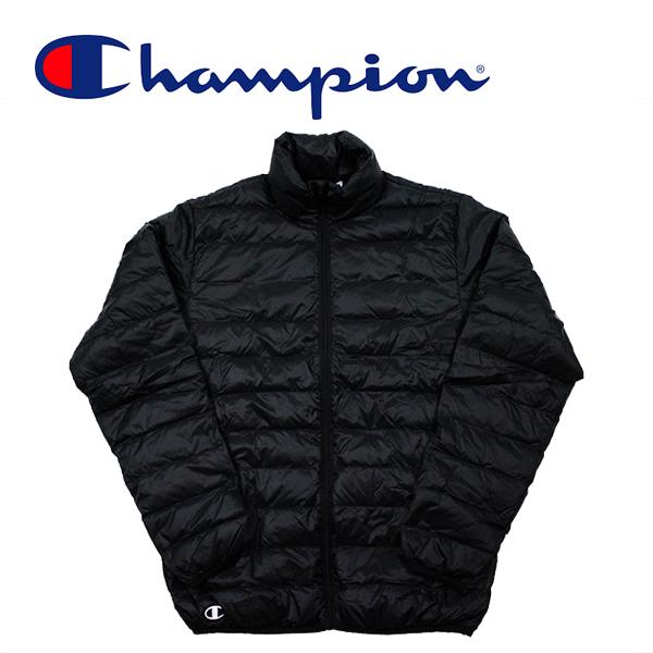 送料無料 チャンピオンの軽量ダウンジャケット チャンピオン 定番の人気シリーズPOINT 年中無休 ポイント 入荷 ダウン ジャケット ライトダウンジャケット JKT Champion 軽量 ブルゾン ブラック