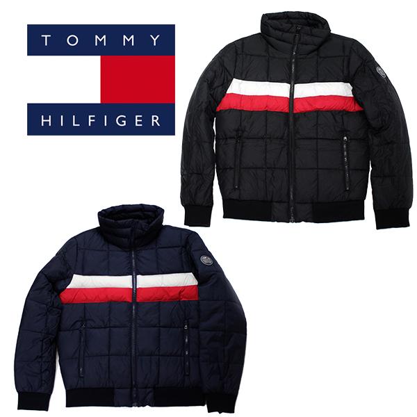 送料無料 トミー ヒルフィガーの軽量中綿 直送商品 ナイロンキルトジップ ジャケット ヒルフィガー 中綿 ナイロンキルト ブルゾン ネイビー スタンドカラー 贈呈 軽量 グレー TOMMY ブラック HILFIGER