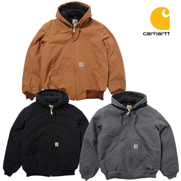 カーハート ジャケット CARHARTT DUCK QUILTED FLANNEL (ブラック/ブラウン/メンズ/ダック/フード/アウター/ブルゾン/アメリカ製/送料無料/大きいサイズ)