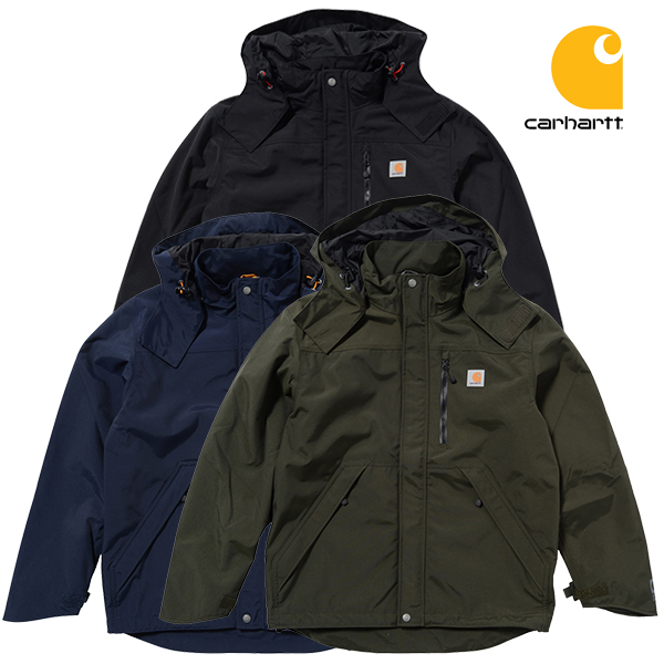 直営店 カーハートのフードジャケットはシンプルで合わせやすいです カーハート ジャケット 市販 CARHARTT SHORELINE JACKET ブラック ネイビー ブルゾン 送料無料 メンズ オリーブ マウンテンパーカー ナイロン アウター