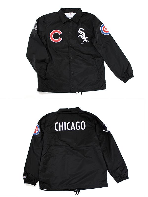 マジェスティック Majestic MLB カブス ホワイトソックス コーチジャケット シカゴ ダブルネームkiuXZPTwO