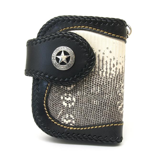 ショート財布・ウォレット トカゲ(リザード)革使用ブラック方耳デザイン・シルバー925シルバーコンチョ付 / who-101