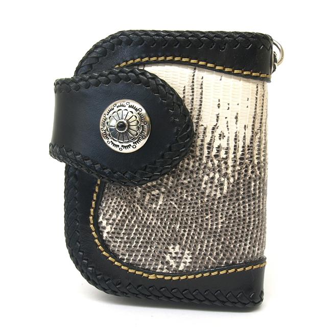 ショート財布・ウォレット トカゲ(リザード)革使用ブラック方耳デザイン・シルバー925シルバーコンチョ付 / who-100