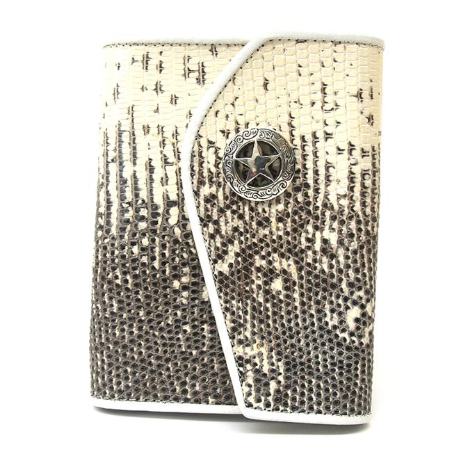 ショート財布・ウォレット トカゲ(リザード)革使用デザイン・シルバー925シルバーコンチョ付 / who-090826-2