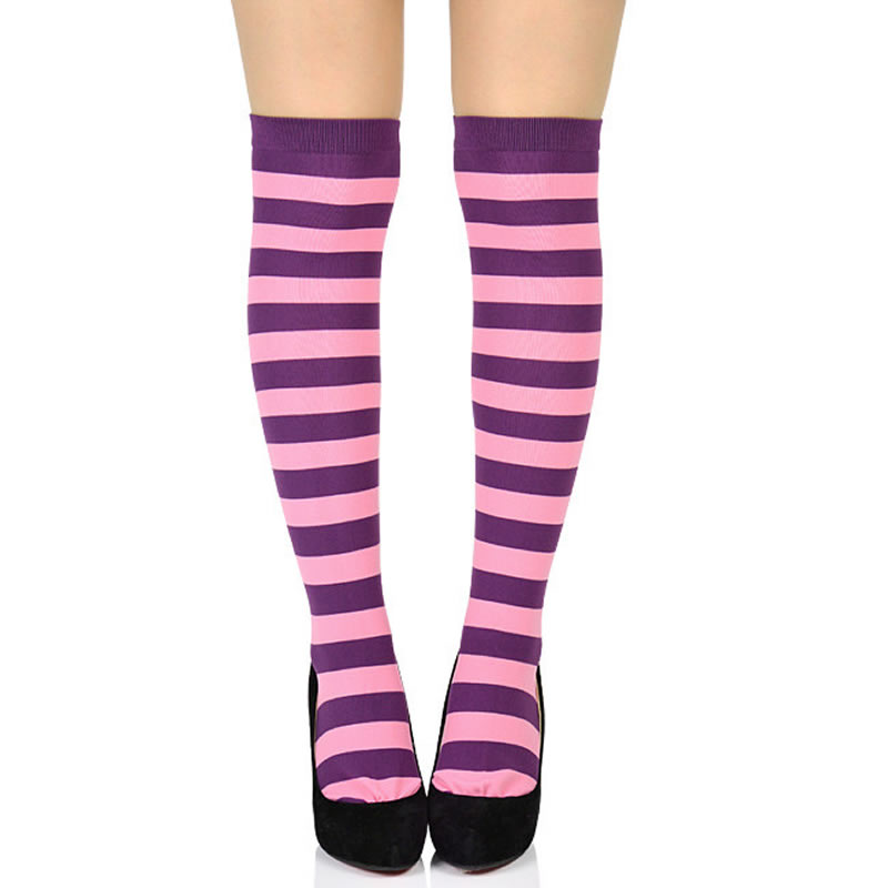 922452681 Knee high stockings socks horizontal stripes pink & purple 23cm - 26cm  correspondence large horizontal ...