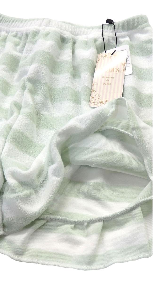 ショートパンツ レディース パイル生地 ボーダー柄 部屋着 ルームウエア 可愛い フラワー ボタニカル 裾ふりふり 1分丈 総ゴム ap-6146330-00009-91024-43
