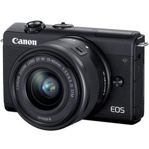 【納期約2週間】◎【お一人様1台限り】canon キヤノン ミラーレス一眼カメラ EOS M200 レンズキット ブラック EOSM200BK1545ISSTMLK