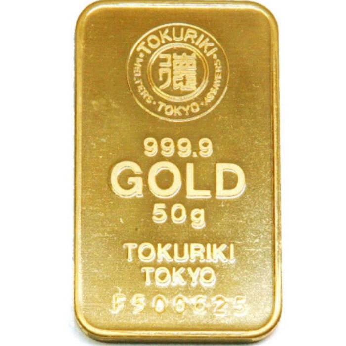 【流通品 現定数販売】純金 インゴット 徳力 50g K24 TOKURIKI 純正布袋付き 送料無料