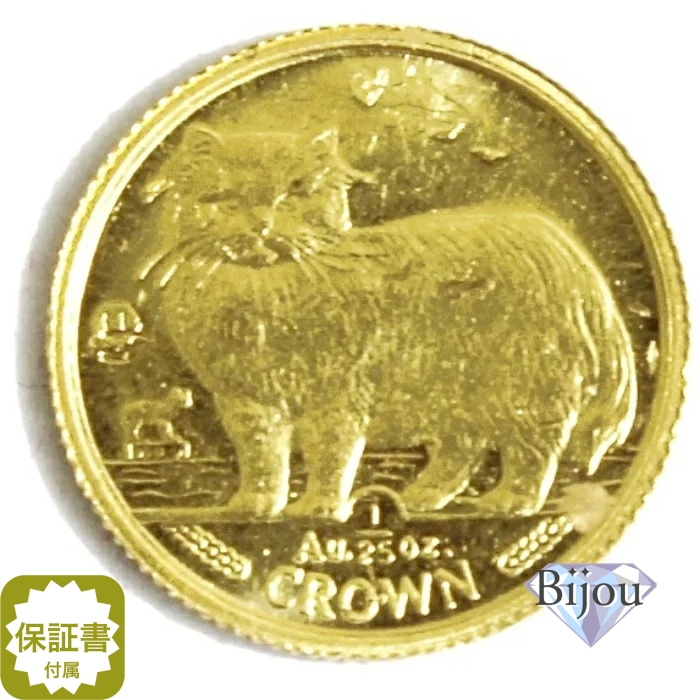 K24 マン島 キャット金貨 コイン 1/25oz 1.24g 1989年 招き猫 純金