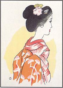 <竹久夢二>復刻 木版画「紅舞妓」【竹久夢二 グッズ 木版画 インテリア 復刻版】