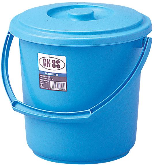 バケツ 青 ブルー 8L 学校 お掃除 教室 小型 蓋つき 青色 8S型 バケツ蓋セット 爆売り 配送員設置送料無料 ばけつGKバケツ S