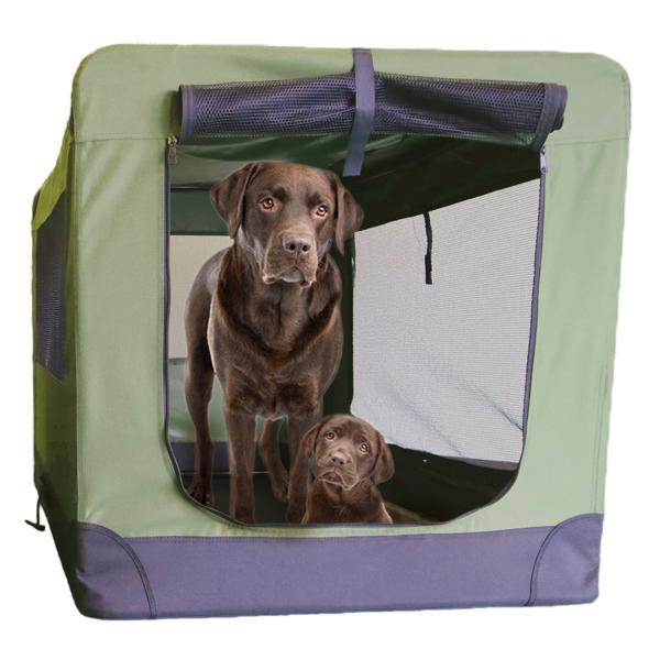 特大キャリーバッグ ケージ 激安特価品 評価 大型犬 ペットサークル 災害時も安心 ソフトソフクレート XXXLサイズ ゲージ キャリーバッグ 当日出荷受付は13:00まで モスグリーン 50kg まで使用可能ケージ