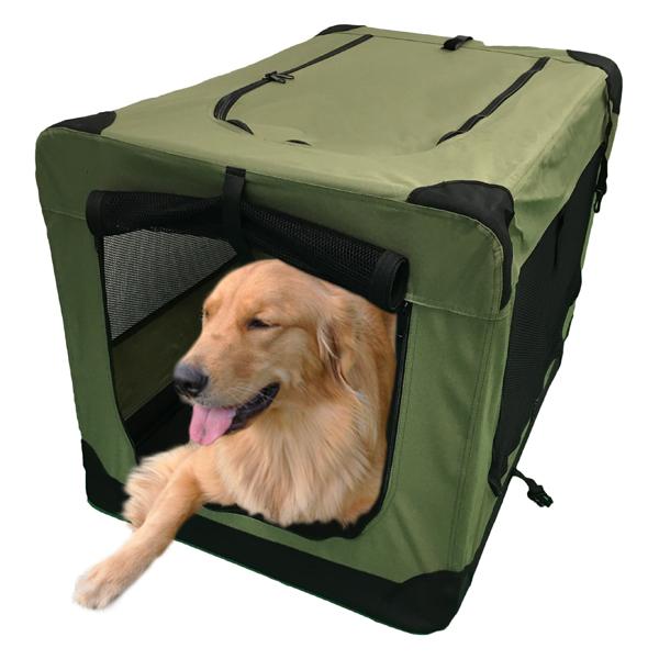 お気にいる ドライブ用 車内用 ケージ 大型犬 ペットサークル ソフトソフクレートXL 31.8kg ゲージ 幅62×奥行90×高さ62cm バーゲンセール まで使用可能ケージ モスグリーン キャリーバッグ