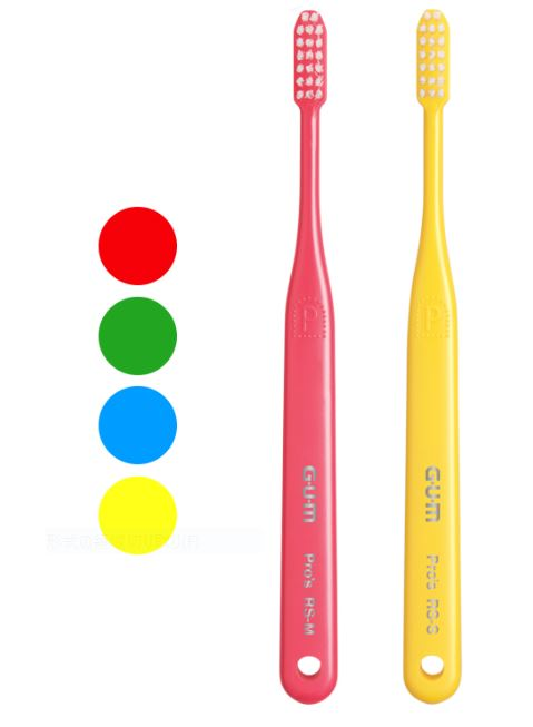 サンスター 歯科用 ガムPro's デンタルブラシ RS-S ハンドルカラー4色 数量は多 アソート やわらかめ 大人気 歯ブラシ 12本