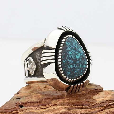 23.5号 ハーマン·バンデバー作 キングマンターコイズ ヘビーゲージシルバーリング インディアンジュエリー ナバホ 指輪   Herman Vandever Kingman Navajo NRI-0265