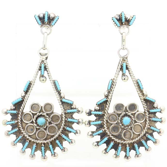 Philander Gia作インディアンジュエリー ピアスニードルポイント大きい揺れるピアスターコイズ使用Native American Earrings【送料無料】【zpie-0268】