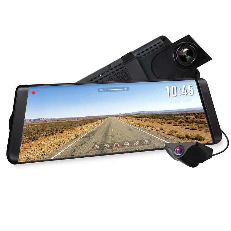 AUTO-VOX X2 ドライブレコーダー 前後カメラ ルームミラーモニター デジタルインナーミラー 9.88インチタッチパネル 1296PフルHD 同時録画 駐車監視 暗視機能 GPS速度測定 車線逸脱警報 防水構造