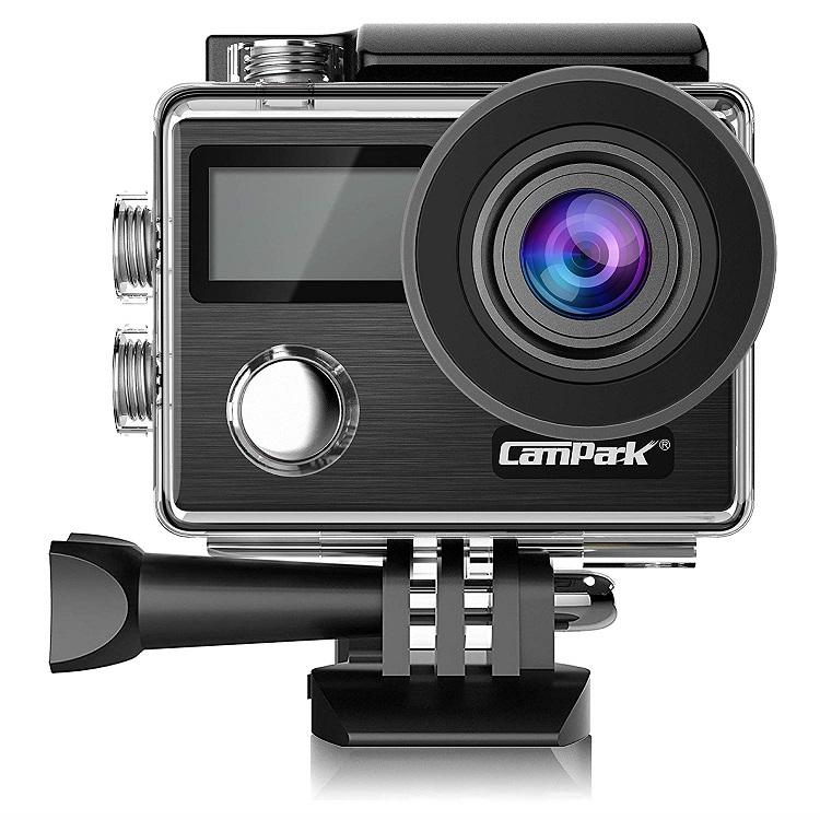 Campark 4Kアクションカメラ 2000万画素 フルHD 2インチタッチスクリーン 30m防水 【従来品改良】 手ぶれ補正 WiFi搭載 64GBカード対応 ウェアラブルカメラ 170度広角 魚眼レンズ 超絶画質 ドライブレコーダーとして使用可 2x1050mAhバッテリー 改良版 4Kカメラ 日本語対応