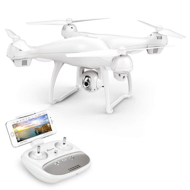 Potensic ドローン GPS搭載 高度・座標ホバリング 9軸ジャイロ 広角HDカメラ付き 1080p WIFIリアタイム マルチコプター 15分間超長飛行 フォローミーモード オートリターンモード ヘッドレスモード 国内認証済み T35 ホワイト