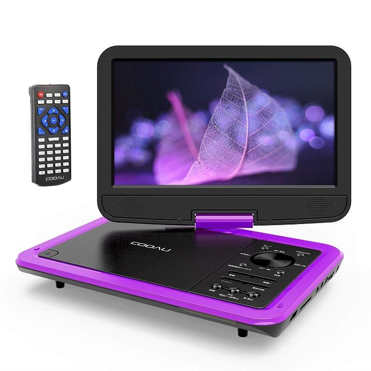 ポータブル DVDプレーヤー 10.5インチ 液晶部分10.1インチ COOAU 車載DVD トラスト 高画質液晶スクリーン 5時間連続再生 270°回転 USB CPRM MMC対応 リージョンフリー 紫 新品 日本語説明書付き SD 一年保証 リモコン
