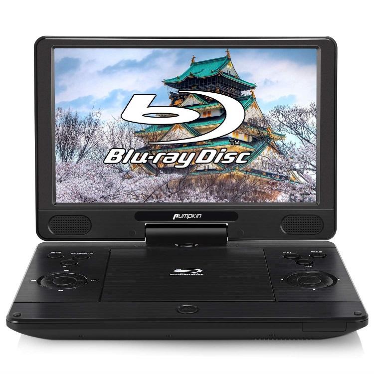 PUMPKIN ポータブルブルーレイプレーヤー 12インチ dvdプレーヤー ポータブル 1080P ドルビーオーディオ 1920x1080 フルHD 動画再生可 AV-IN対応 AUX CPRM HDMI-OUT USB SD MMC