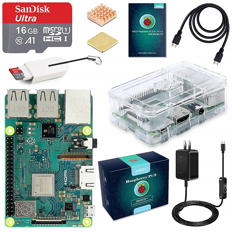 ABOX Raspberry Pi 3 Model b+ ラズベリーパイ 3 b+ MicroSDHCカード16G/NOOBSシステムプリインストール/カードリーダ/簡単に取り付けクリアケース/ 5V/3A スイッチ付電源/高品質HDMIケーブルライン/ヒートシンク/日本語取扱説明書