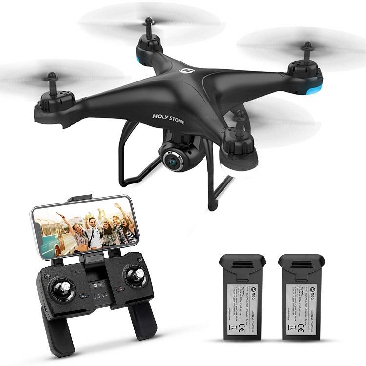 Holy Stone ドローン GPS搭載 カメラ付き 200g以下 最大飛行時間32分 バッテリー2個付き プロペラガードなし 1080P 広角HDカメラ フォローミーモード オートリターンモード モード1/2転換可 FPVリアルタイム 高度維持 国内認証済み HS120D