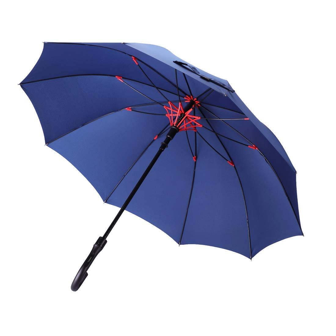 昇級版 日本限定 梅雨対策Vialifer長傘210T高強度グラスファイバー傘10本骨Teflon加工超撥水耐風 ブランド買うならブランドオフ 丈夫 大型 紳士傘 レディースメンズ晴雨兼用傘 付き 自動開けステッキ傘 大きな傘