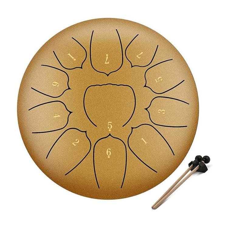 PopHMN スリットドラム 金属ドラム 10インチ 11音 スチールドラム 癒しの楽器 音楽啓発楽器 複数のサイズ タングドラム ヨガの瞑想 音楽療法 癒し 疲労療 説明書&楽譜/マレット/指カバー/トートバッグが付属 サイズ: 10インチ,11トーン