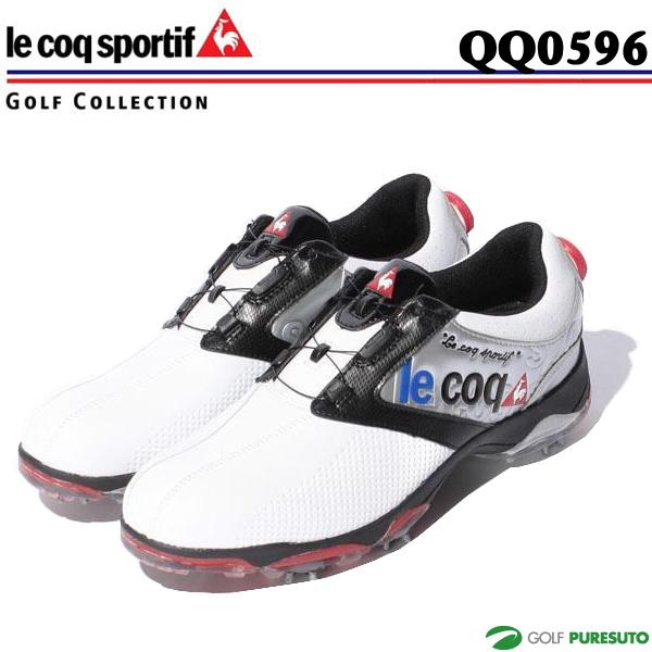 【即納!】ルコックゴルフ ゴルフシューズ メンズ QQ0596 ホワイト×シルバー×ブラック(XN40)ヒールダイヤル式WLS【あす楽対応】