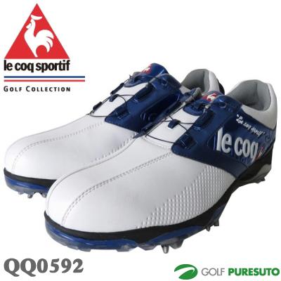 【即納!】ルコックゴルフ ゴルフシューズ メンズ QQ0592 ホワイト×ブルー ヒールダイヤル式WLS【あす楽対応】