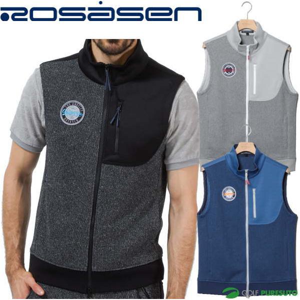 2020年秋冬モデル ROSASEN 秋冬ウェア ゴルフウェア ロサーセン クォーターゲージベスト メンズ 044-43871 フルジップ