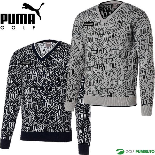 2021年春夏モデル PUMA GOLF 春夏ウェア セール商品 プーマゴルフ ゴルフ 新作続 ロゴ セーター ゴルフウェア メンズ グラフィック Vネック 930082