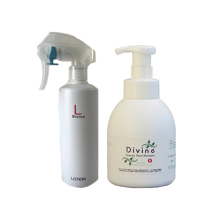 【初回限定 送料無料】超敏感肌な方へ、泡で洗って守るセット!ディバイン シャンプー O(オー) 500ml+ ローションL 300ml 各1本セット