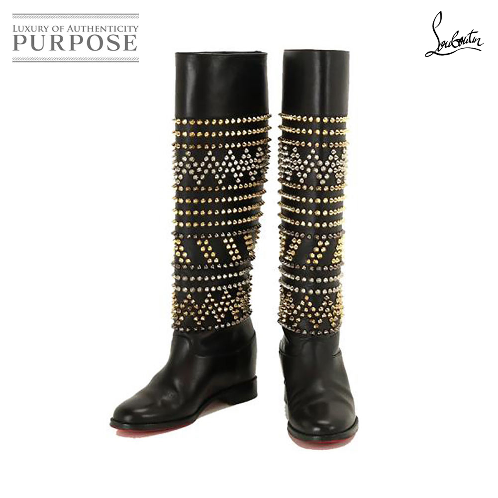 sports shoes 3bd11 8475c クリスチャンルブタン Christian Louboutin studs long boots leather black 35