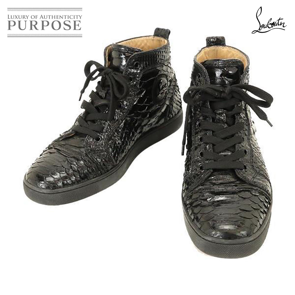 official photos 1eef9 613e3 クリスチャンルブタン CHRISTIAN LOUBOUTIN python leather higher frequency elimination  sneakers black black unisex man and woman common use sole red red 40 25cm